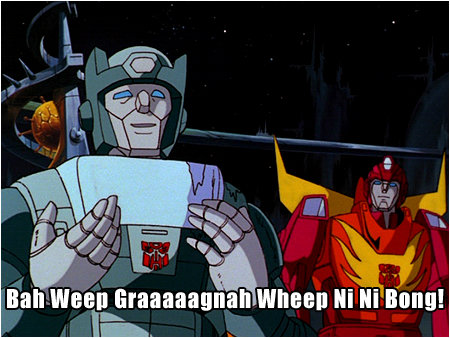 """Transformers getting it right, way back in '86. """"Don't worry, they'll reciprocate!"""""""